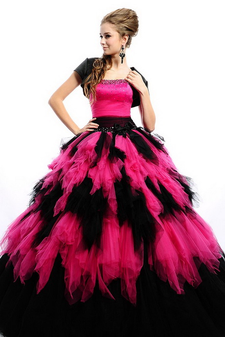 Black Prom Dress With Pink Shoes