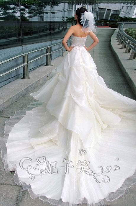 Wedding dresses with long trains for White wedding dresses with long trains