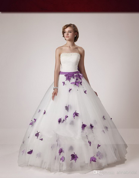 White and purple wedding dress for White wedding dress with lavender