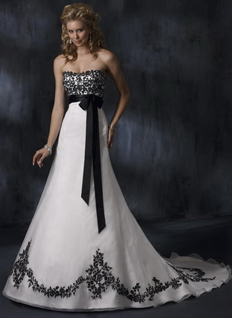 Black and white lace wedding dresses for Wedding dresses white and black