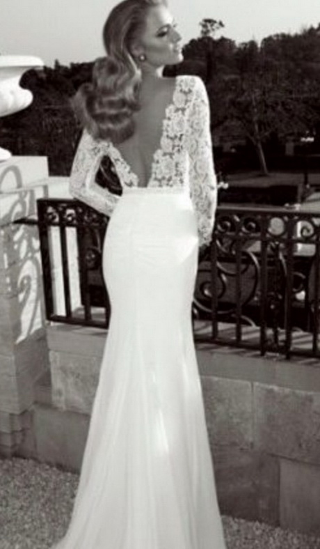 Lace wedding dresses with open back for Vintage lace wedding dress open back