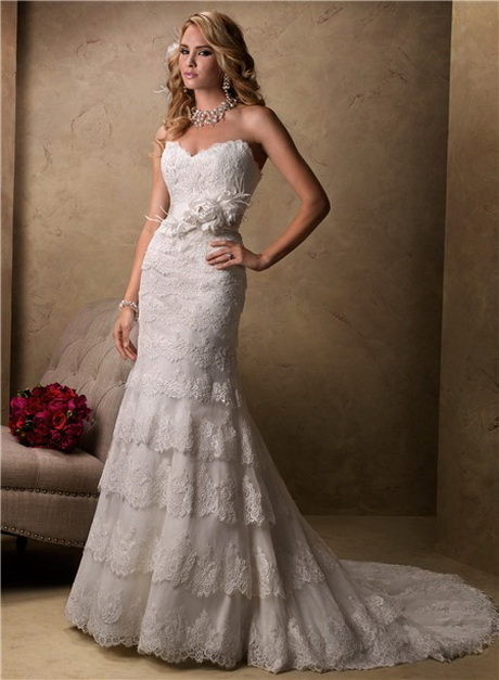 Layered Wedding Dresses : Layered lace wedding dress