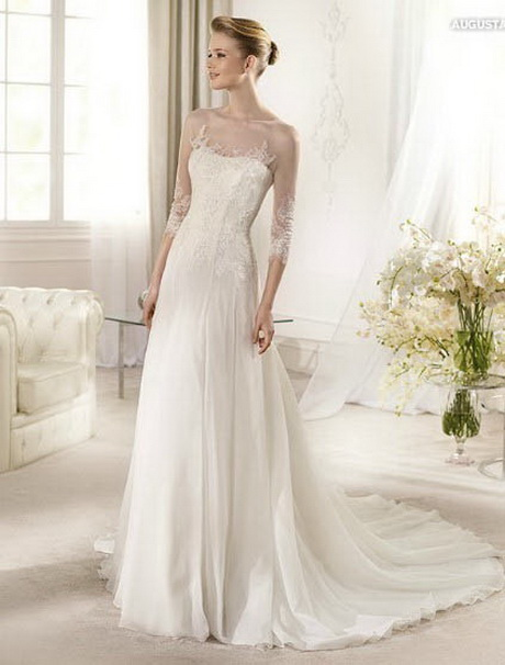Sheer lace wedding dress for Wedding dress with sheer sleeves