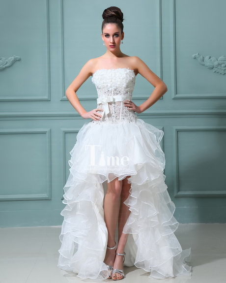 Short wedding dress with train for Short wedding dress with long train