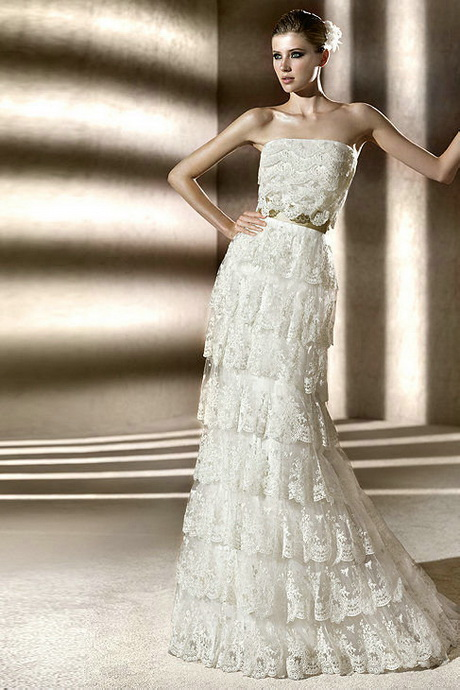 3 Tiered Lace Wedding Dress : Tiered lace wedding dress