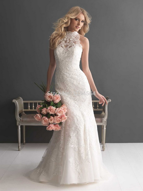 Halter lace wedding dress for Wedding dress halter top