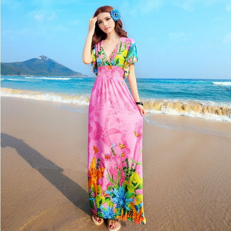 Long dress wood bead women s halter v neck bohemian beach dresses