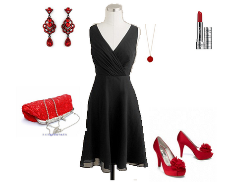 red accessories for black dress
