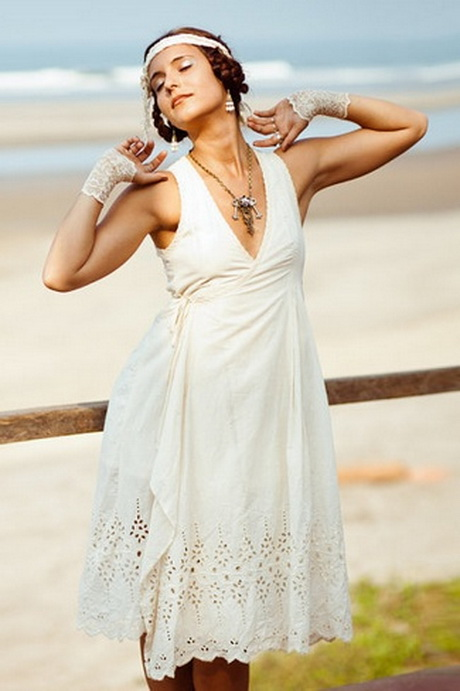 Short bohemian wedding dress for Short beach style wedding dresses