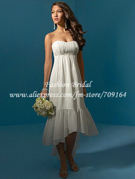designer empire tea length destination short wedding gown