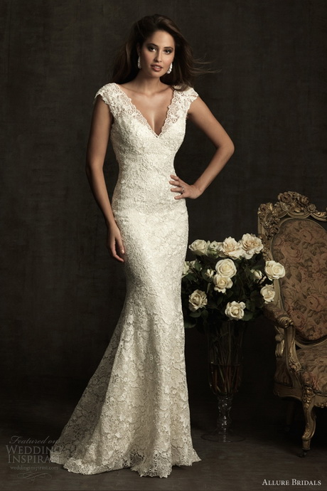 slim fitting lace wedding dress re re