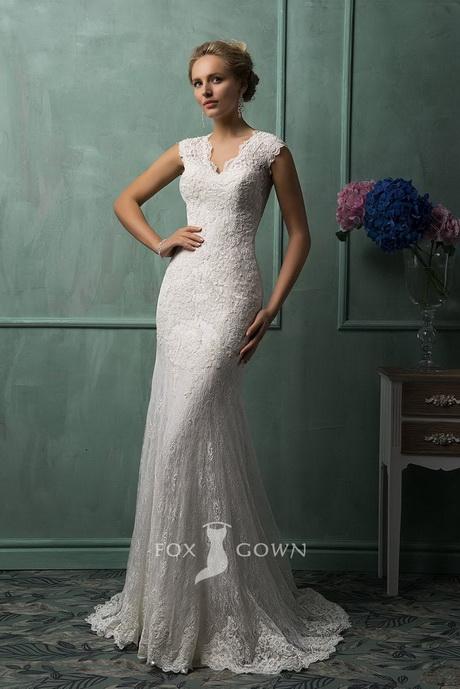 lace v neck sleeveless slim fitted keyhole button back wedding dress