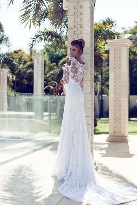 Lace Slim Long White Mermaid Brand Wedding Dresses 2014 With Long ...