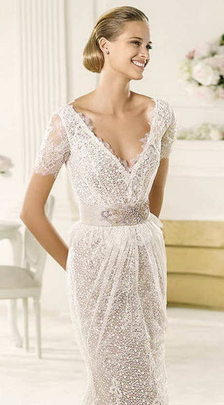 Vintage inspired lace wedding dress for Vintage lace dress wedding
