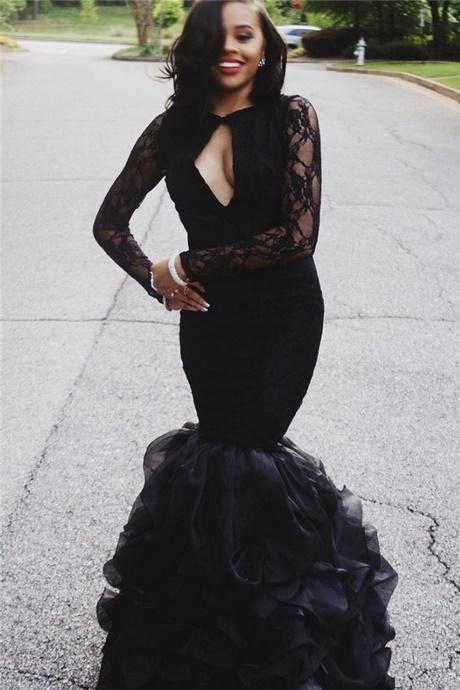 Black Long Sleeve Prom Dresses 2018