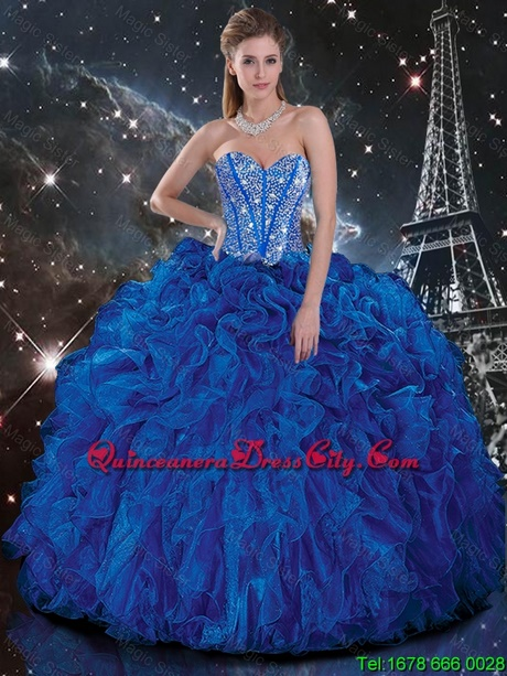 Gold and blue quinceanera dresses 2018