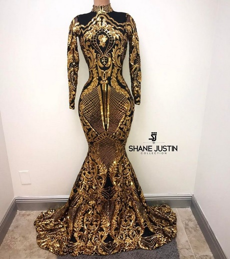 prom dresses 2018 black and gold