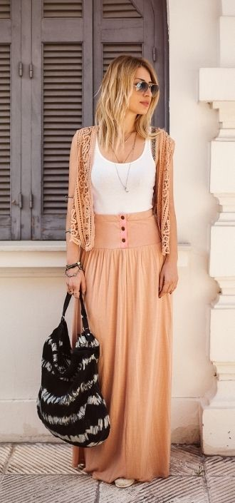 cute long skirt outfits