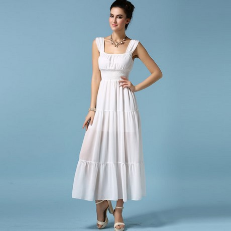 Long white casual summer dress