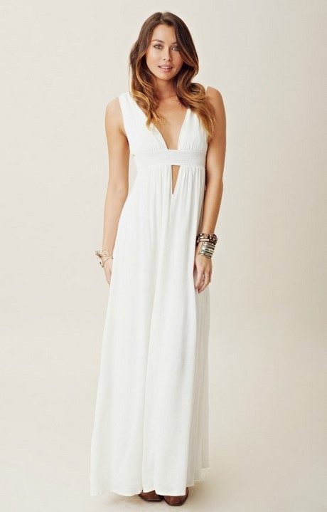 white casual long dresses