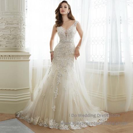 New design vintage wedding dresses lace 2016 mermaid v neck bridal
