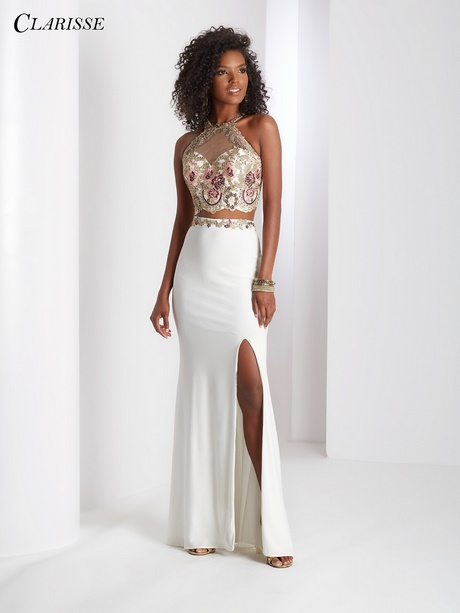 White lace prom dresses