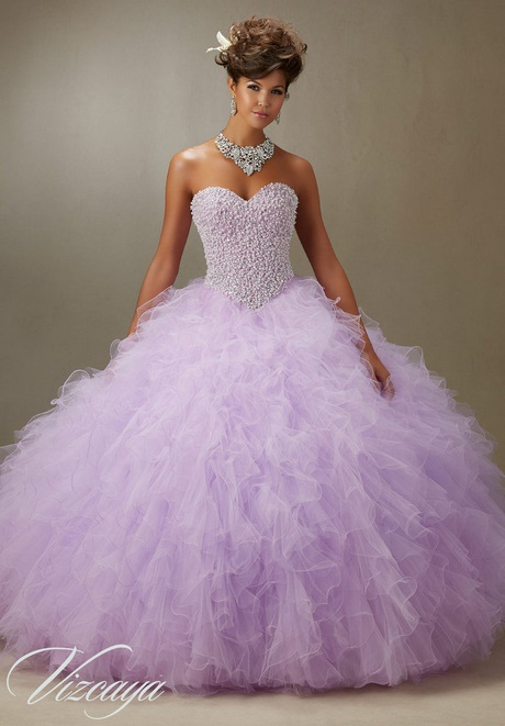 f0d4e58dfa273 Quinceanera Dress Purple Pearl Beaded Bodice On A Ruffled Tulle Ball Gown …