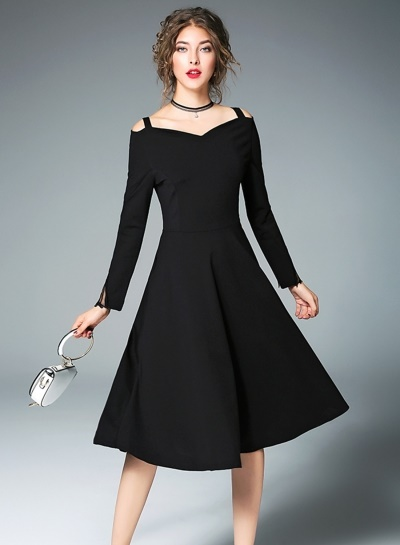 Plain Black Dress With Sleeves