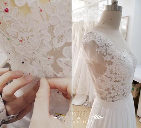 customized long chiffon wedding dress with lace bodice sewing details