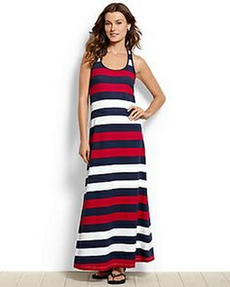 Maxi Caftan Dress - Black and White / Stripes