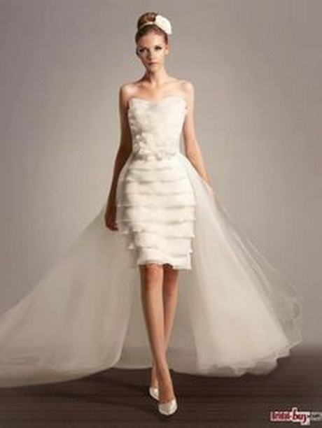 Short fun wedding dresses for Short wedding dress with removable train