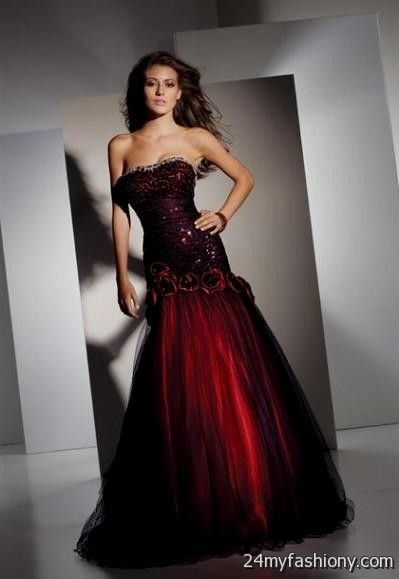 Black and red prom dre...