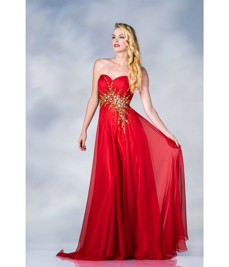 gold and red prom dresses