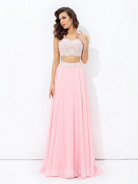 Pink two piece prom dress