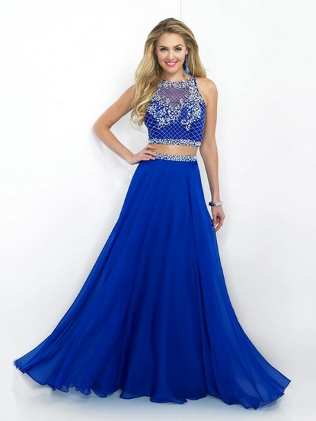 two piece blue prom dress