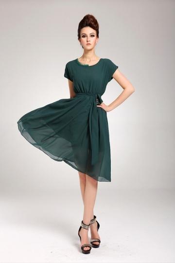 Chiffon Midi Dress With Sleeves