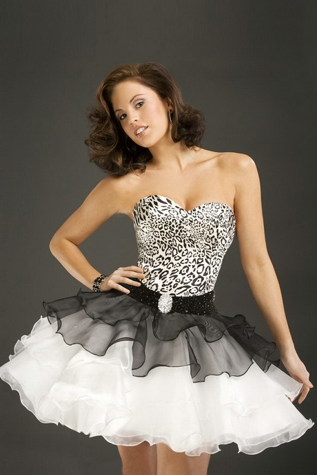 Black and White Short Cocktail Dress