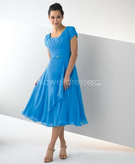 Simple Elegant Tea Length Chiffon Cap Sleeve Wedding: Guest Wedding Dresses With Sleeves
