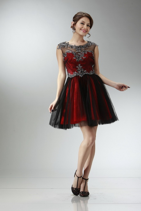 Short Red And Black Prom Dresses