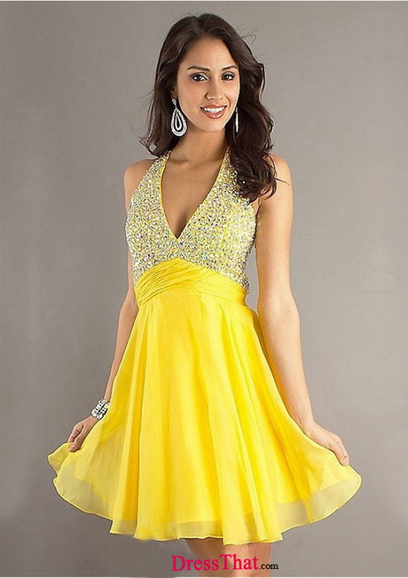 Short Yellow Formal Dresses