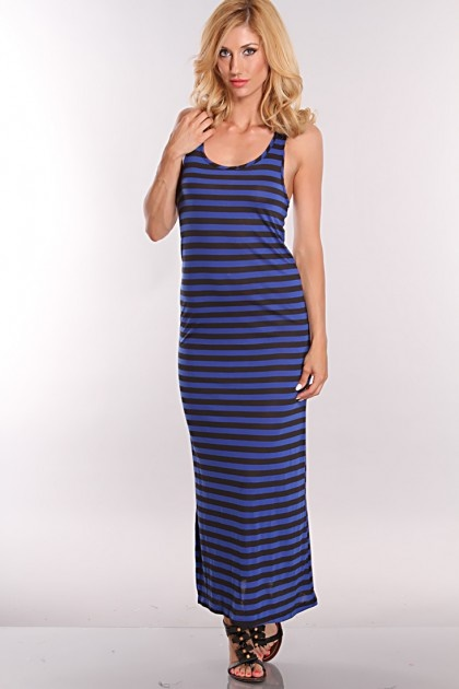 Blue And Black Striped Dress