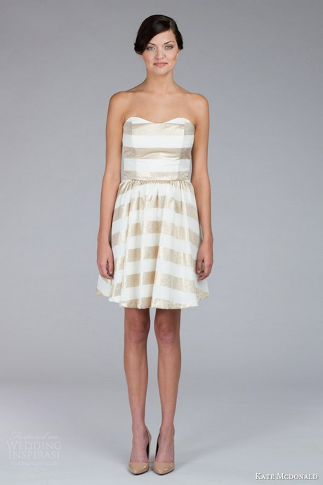 Gold And White Striped Dress