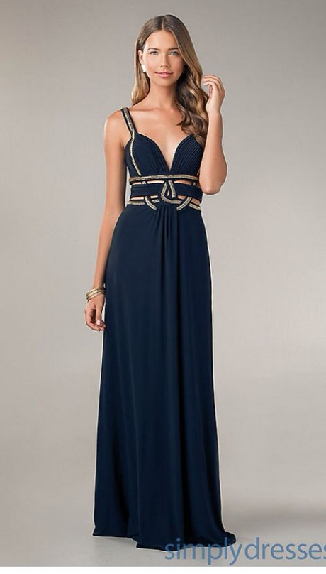 Navy blue and gold prom dress