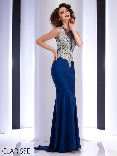 Navy blue fitted prom dress