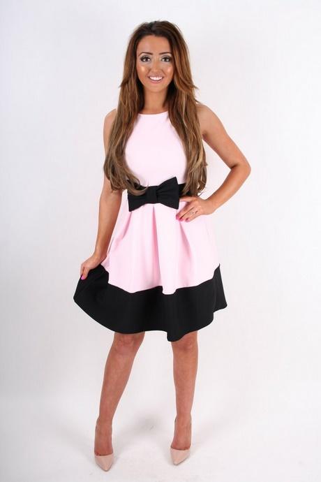 black and pink skater dress