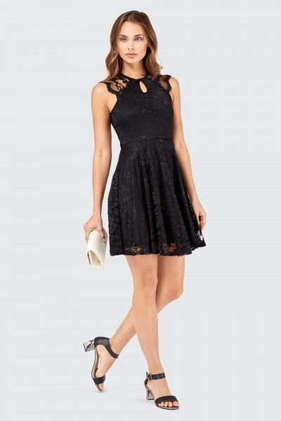 The cutest black dress featuring a sheer organza top with a sweetheart neckline and flared skirt. ROMWE Mesh Peak Collar Little Black Skater Dress.