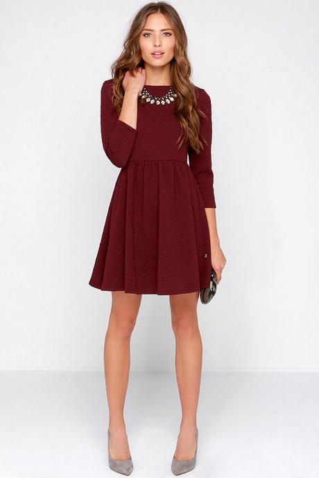 Burgundy Long Sleeve Skater Dress