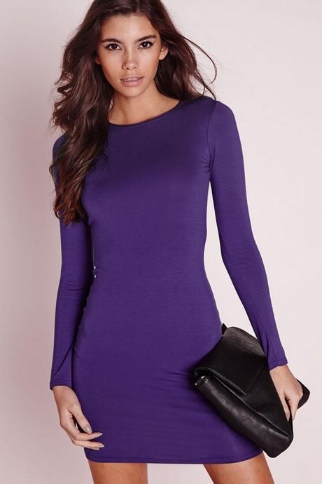 long sleeve purple skater dress