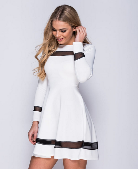 long sleeve white skater dress