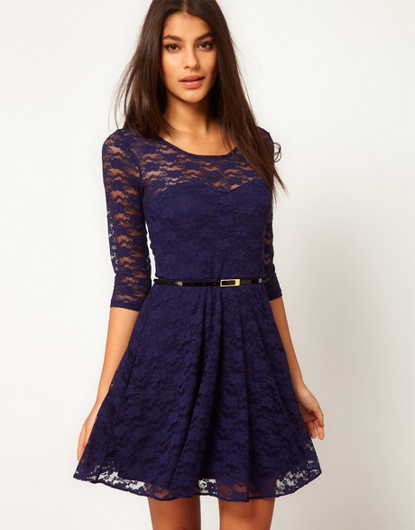 Adorable Navy Blue Dress – Skater Dress – Short Sleeve Dress … ebd751aba